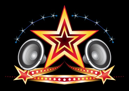 Power of music star with neon elements on black Stock Vector - 10830130