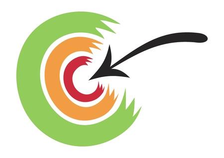 hitting: Concetto di illustrazione di freccia che colpisce nel bersaglio Vettoriali
