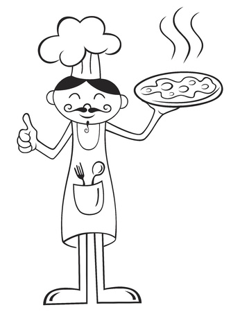 Illustration of chef with hot pizza isolated on white Vector