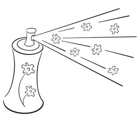 verfblik: Spray aerosol en wolk van frisheid met bloemen Stock Illustratie