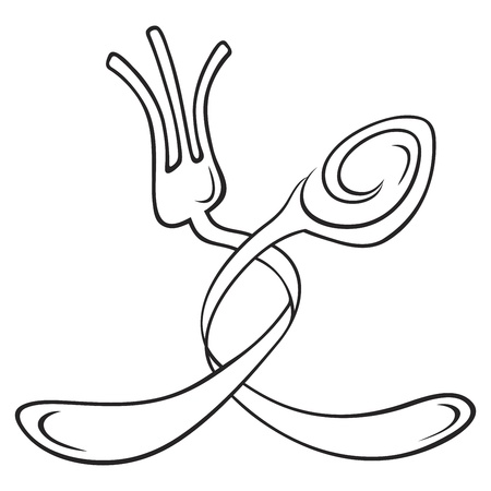 spoon and fork: Symbols of fork and spoon isolated on white