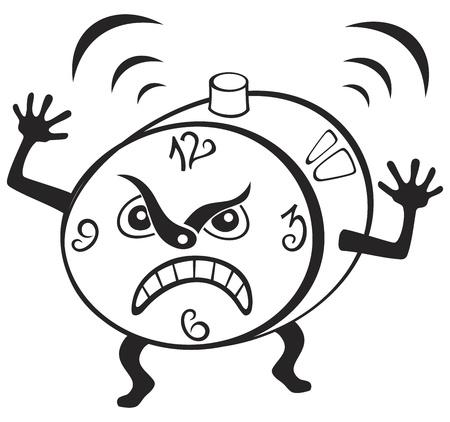 wakening: Illustration of mad alarm clock wakening at morning Illustration