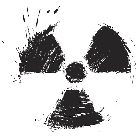 radioattivo: Simbolo di radiazioni create in stile grunge