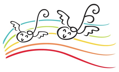 Happy notes with wings on music lines