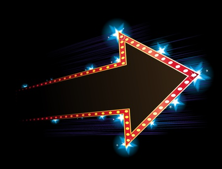 Arrow shape neon with star in background