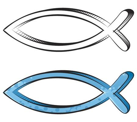 pez cristiano: Peces de religión cristiana símbolo creado en estilo graffiti y esbozo Vectores