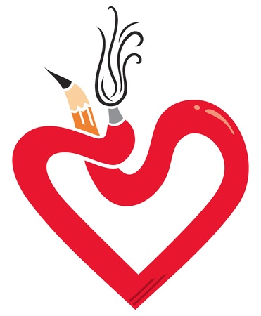 Heart symbol made of pencil and brush Vector