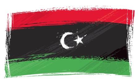 Libya national flag created in grunge style Vector