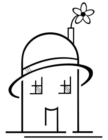 construction logo: Concept of ecological house with hat and flower