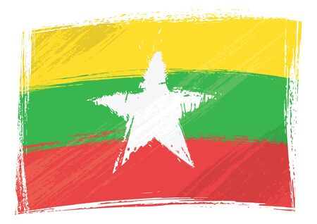myanmar: Myanmar national flag created in grunge style Illustration