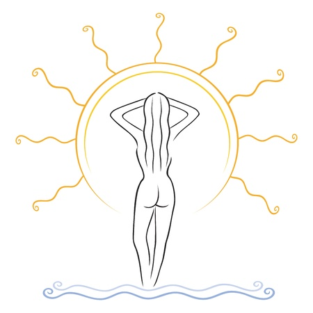 naked woman back: Illustration of naked slim woman tanning on sunlight