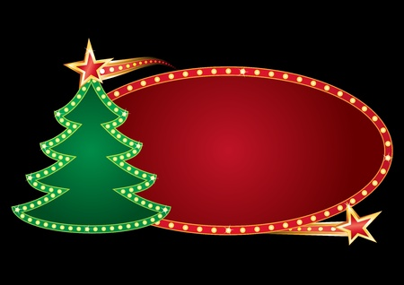 Shining neon with christmas tree isolated on black Vector