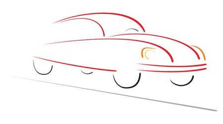Racing auto op de weg Stock Illustratie