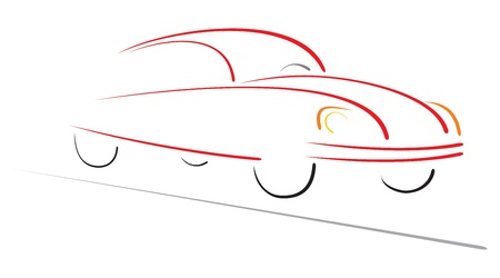 Racing car on road Ilustracja