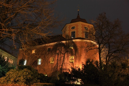 oldtown: Illuminated  bastion in Zittau city at night