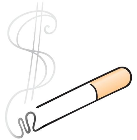 sigaretta: Illustrazione di fumo in forma dollaro da sigaretta Vettoriali
