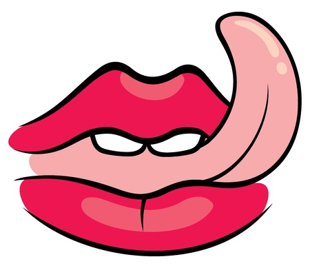 close up face: Illustration of tongue licking sexy red lips