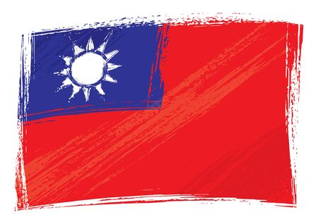 taiwanese: Taiwan national flag created in grunge style Illustration