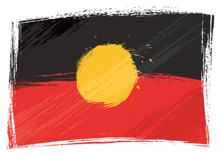 indigenous: Australian Aborigines flag created in grunge style