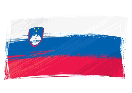 created: Slovenia national flag created in grunge style