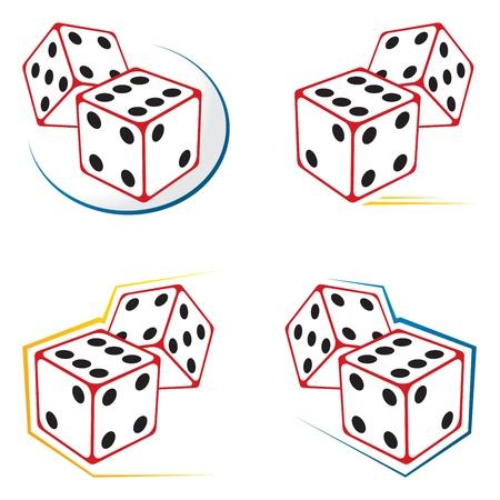 Dobbelstenen iconen Vector Illustratie
