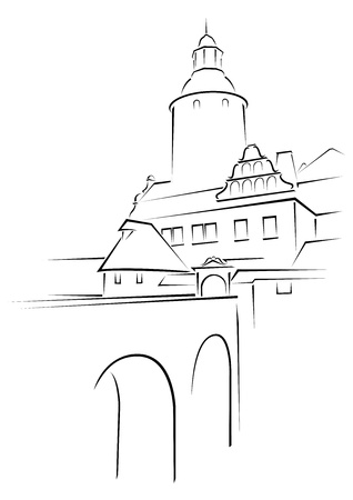 castle silhouette: Old castle Czocha in Poland on sketch
