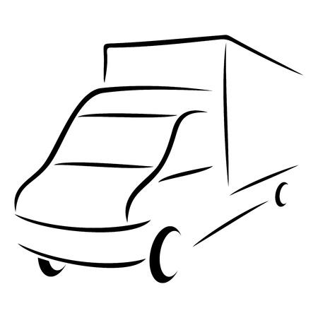 white truck: Road transport symbol