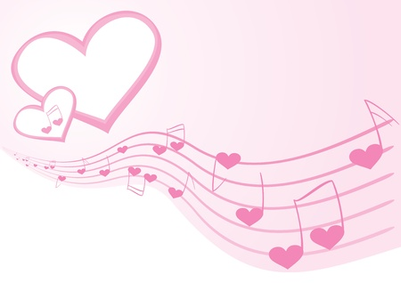 Pink background with music notes and hearts Vector