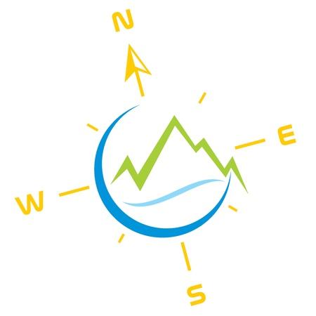Symbol der Berge mit Fluss und Kompass