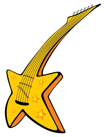 Star shape guitar in cartoon style illustration