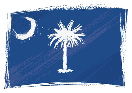 State of South Carolina flag created in grunge style Vector