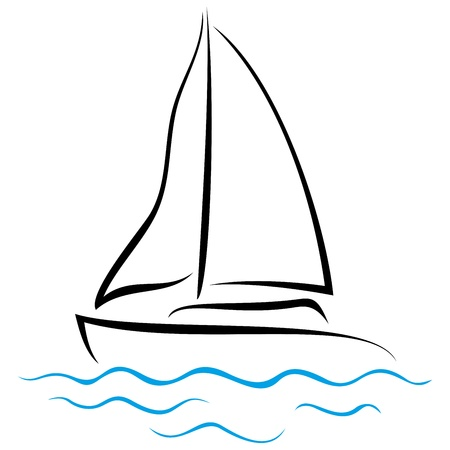 sailing ship: Symbol of ship sailing on the sea Illustration