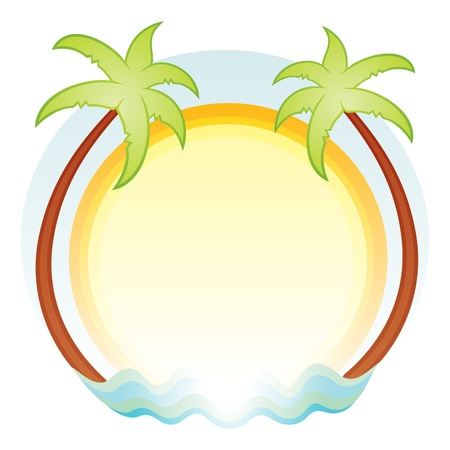 travel logo: Tropics symbol with palms sun and sea Illustration