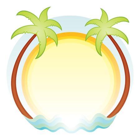 logo voyage: Tropiques symbole de palmiers soleil et la mer