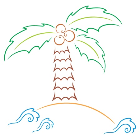 Palm at island Stock Vector - 14037188