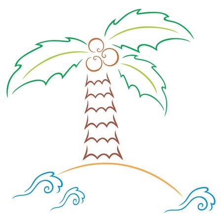 Palm at island Vector