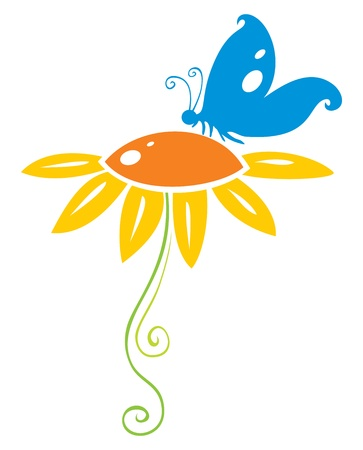 Decoratieve symbool van de blauwe vlinder op oranje bloem Vector Illustratie