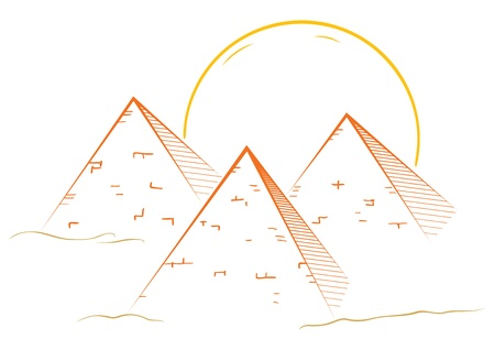 pyramid of the sun: Illustration of famous great pyramids in egypt