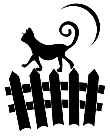 bewitched: Cat on fence Illustration