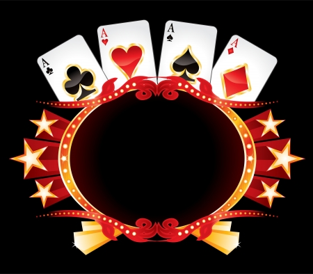 poker cards: Casino neon