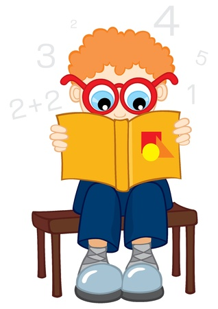 Confused boy reading from book about mathematics Vector