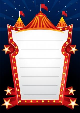 cabaret: Affiche avec grand cirque chapiteau et �toiles Illustration