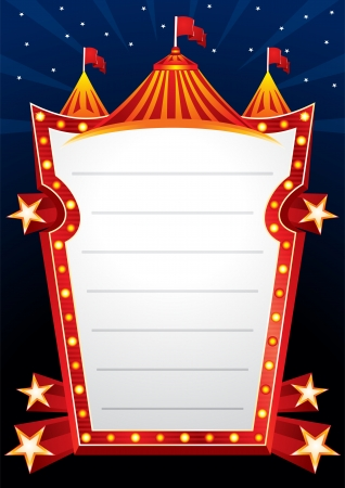 Poster with big circus marquee and stars Vector