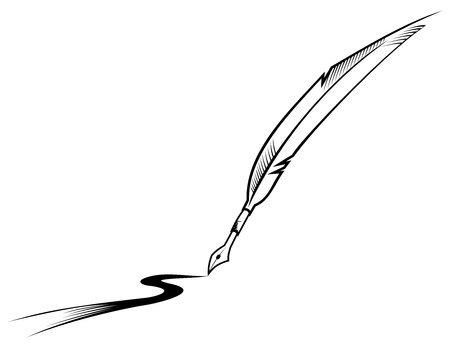 feather pen: Black symbol of feather pen isolated on white Illustration