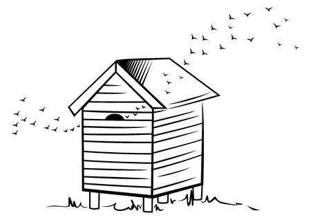 colmena: Ilustración de la colmena creado en el estilo de dibujo Vectores
