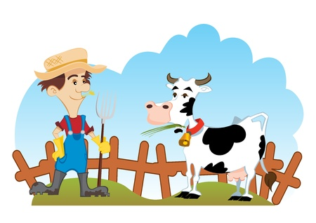 Farmer and cow Vector
