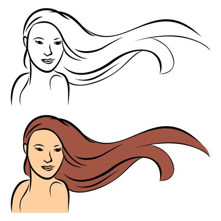 Portrait of girl with long hair Vector