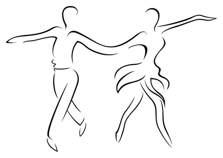 Illustration of couple dancing latin dance cha cha Vettoriali