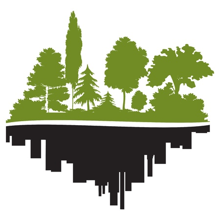 City and forest Stock Vector - 16550307