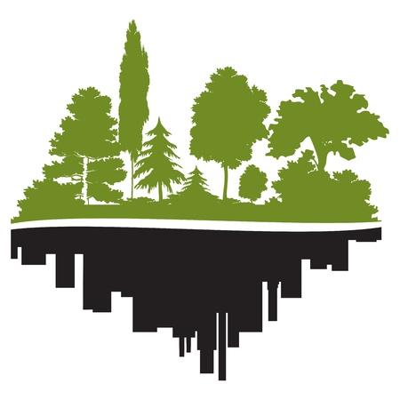 Stad en bos Stock Illustratie